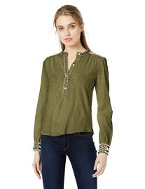 Embroidered Henley Top at Amazon