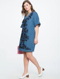 Embroidered A Line Denim Dress at Eloquii