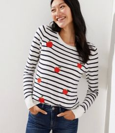 Embroidered Apple Striped Sweater by Loft at Loft