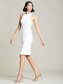 Embroidered Back Heavy Crepe Halter Dress by Halston at Halston