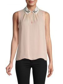 Embroidered Bird Collar Silk Blouse by Rebecca Taylor at Saks Off 5th
