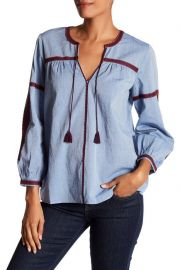 Embroidered Chambray Long Sleeve Blouse at Nordstrom Rack