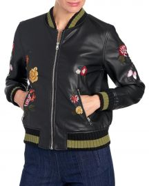 Embroidered Faux Leather Bomber Jacket at Stein Mart