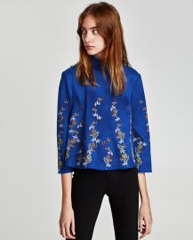 Embroidered Faux Suede Top by Zara at Zara