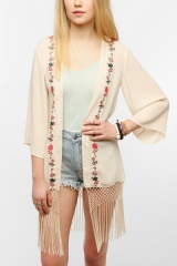 Embroidered Fringe Jacket by Staring at Stars at Urban Outfitters