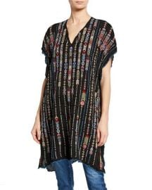 Embroidered Georgette Poncho with Side Slits at Neiman Marcus