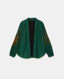 Embroidered Jacquard Kimono at Zara