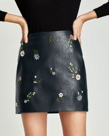 Embroidered Leather Skirt at Zara