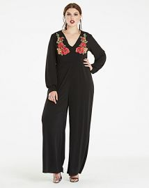 Embroidered Long Sleeve Jumpsuit by Simply Be at Simply Be