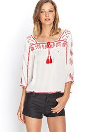 Embroidered Peasant Top  Forever 21 - 2000070979 at Forever 21