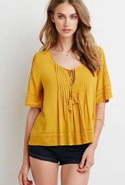 Embroidered Pintucked Blouse in Mustard at Forever 21