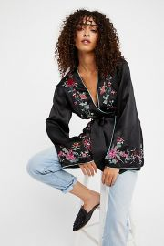 Embroidered Satin Blazer  at Free People