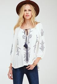 Embroidered Self-Tie Peasant Top  Forever 21 - 2052288260 at Forever 21