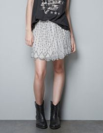 Embroidered Skirt with Beads at Zara