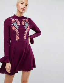 Embroidered Trumpet Sleeve Mini Dress at ASOS