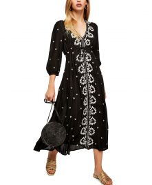 Embroidered V Maxi Dress at Macys