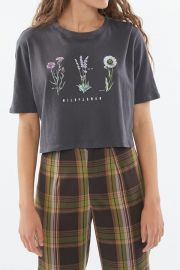Embroidered Wildflower Cropped Top at Urban Outfitters
