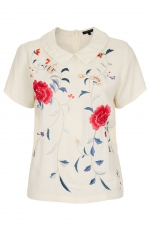 Embroidered floral collar tee at Topshop at Topshop