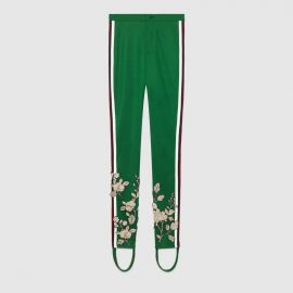 Embroidered jersey stirrup legging at Gucci