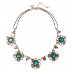 Emerald Stone Brass Acrylic Cluster Necklace at Capwell