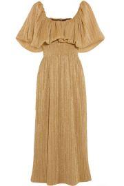 Emilia Wickstead   Metallic pliss  -jersey midi dress at Net A Porter