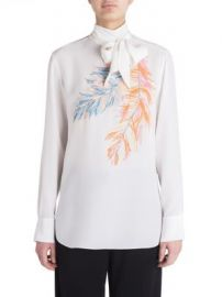 Emilio Pucci - Feather Highneck Silk Blouse at Saks Fifth Avenue