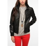 Emilys black leather jacket at Urban Outfitters at Urban Outfitters