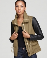 Emily's leather sleeve jacket at Bloomingdales at Bloomingdales