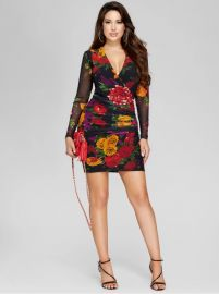 Emma Mesh Ruched Dress by Guess at Guess