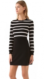Emma's black and white striped dress by Alice and Olivia at Shopbop