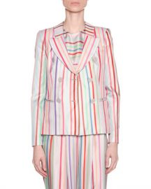 Emporio Armani Candy-Striped Double-Breasted Jacket at Neiman Marcus