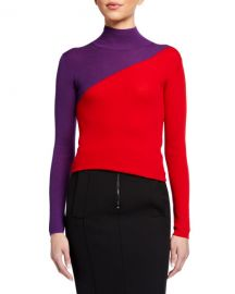 Emporio Armani Colorblock Rib-Knit Turtleneck Sweater at Neiman Marcus