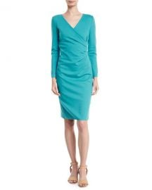 Emporio Armani Long-Sleeve Deep-V Ruched Sheath Dress   Neiman at Neiman Marcus