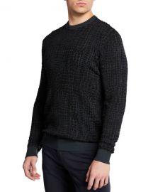 Emporio Armani Men  x27 s Animal-Pattern Crewneck Sweater at Neiman Marcus