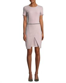Emporio Armani Short-Sleeve Round-Neck Faux-Wrap Dress w  Studded Trim at Neiman Marcus
