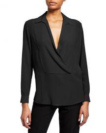 Emporio Armani Silk Pique Collared Blouse at Neiman Marcus