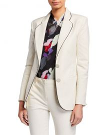 Emporio Armani Two-Button Stretch Cotton Jacket w  Contrast Piping at Neiman Marcus
