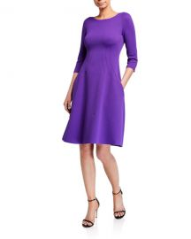 Emporio Armani Wave Jersey 3 4-Sleeve Full Skirt Dress at Neiman Marcus