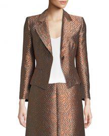 Emporio ArmaniOne-Button Classic Metallic Jacquard Jacket at Neiman Marcus