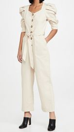 En Saison Cotton Poplin Jumpsuit with Puff Sleeves at Shopbop