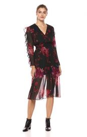 Endless Love Ruffle Sleeve Floral Midi Dress by Ali  Jay at Amazon