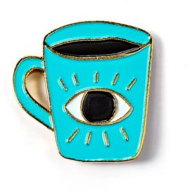 Enlightened Coffee Enamel Pin by Allison Cole at Badge Bomb at Badge Bomb