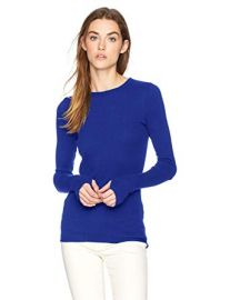 Enza Costa  Cashmere Thermal Cuffed Crew Top at Amazon