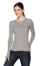 Enza Costa Womens Cashmere Thermal Long Sleeve Henley Top at Amazon