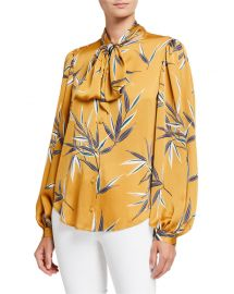 Equipment Cleone Printed Button-Front Tie-Neck Long-Sleeve Top at Neiman Marcus