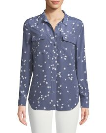 Equipment Slim Signature Star-Print Shirt at Neiman Marcus