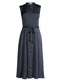 Equipment - Clevete Sleeveless Polka Dot Tie Waist A-Line Shirtdress at Saks Fifth Avenue