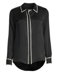 Equipment - Genevia Contrast Trim Silk-Blend Blouse at Saks Fifth Avenue