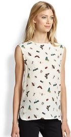 Equipment - Kyle Silk Insect-Print Top at Saks Fifth Avenue