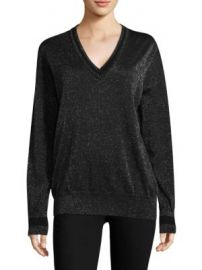 Equipment - Lucinda V-Neck Lurex Sweater at Saks Fifth Avenue